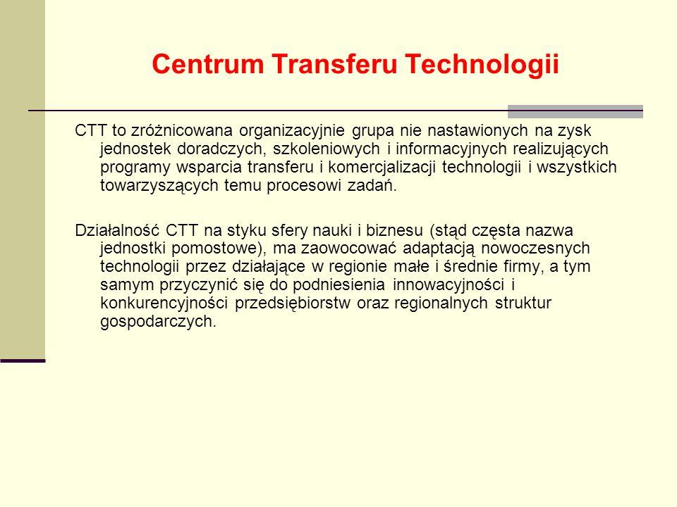 Centrum Transferu Technologii CTT to zróżnicowana organizacyjnie grupa nie nastawionych na zysk jednostek doradczych, szkoleniowych i informacyjnych r