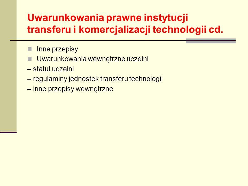 Uwarunkowania prawne instytucji transferu i komercjalizacji technologii cd. Inne przepisy Uwarunkowania wewnętrzne uczelni – statut uczelni – regulami