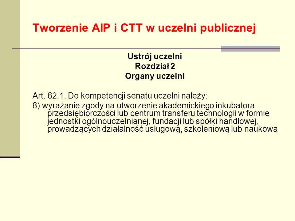 Tworzenie AIP i CTT w uczelni publicznej Ustrój uczelni Rozdział 2 Organy uczelni Art. 62.1. Do kompetencji senatu uczelni należy: 8) wyrażanie zgody