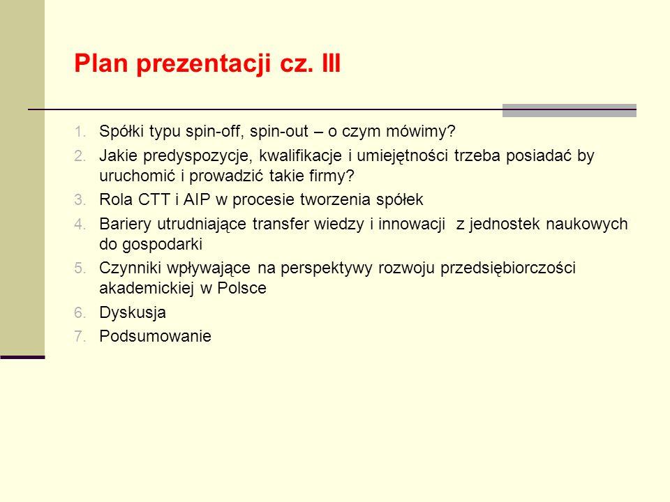 Plan prezentacji cz. III 1. Spółki typu spin-off, spin-out – o czym mówimy? 2. Jakie predyspozycje, kwalifikacje i umiejętności trzeba posiadać by uru