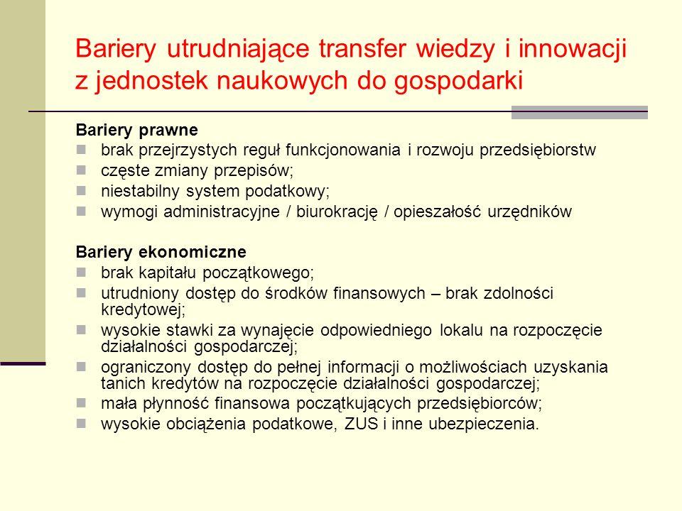 Bariery utrudniające transfer wiedzy i innowacji z jednostek naukowych do gospodarki Bariery prawne brak przejrzystych reguł funkcjonowania i rozwoju