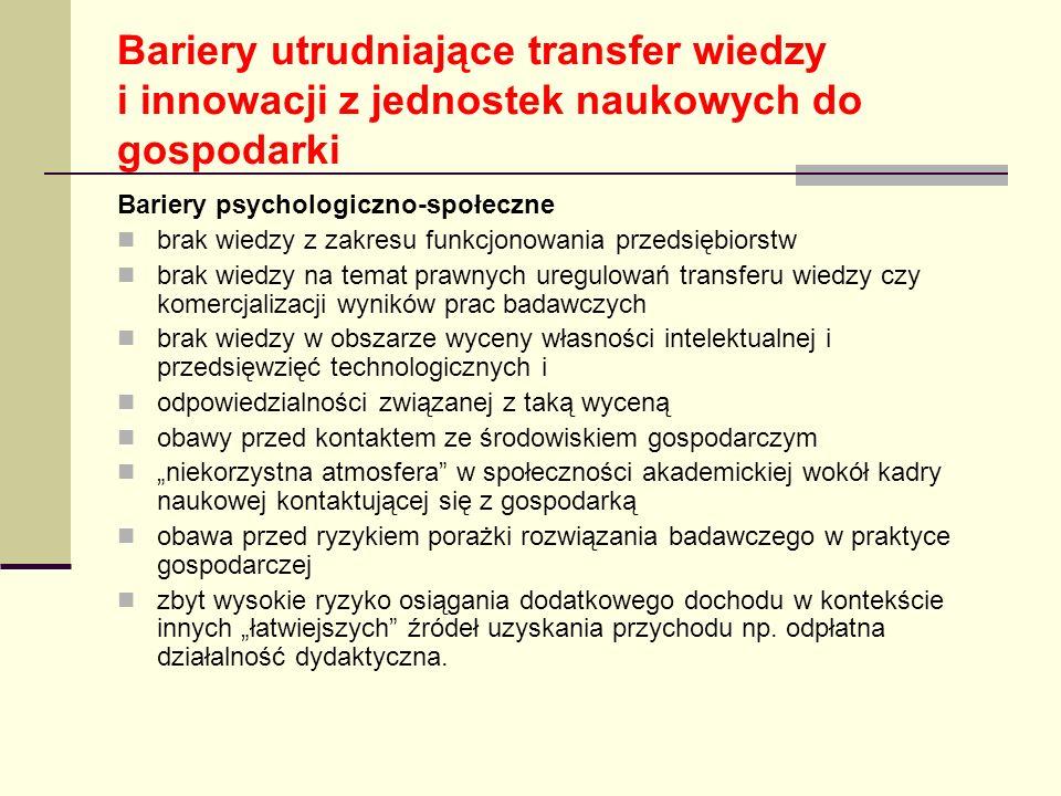 Bariery utrudniające transfer wiedzy i innowacji z jednostek naukowych do gospodarki Bariery psychologiczno-społeczne brak wiedzy z zakresu funkcjonow