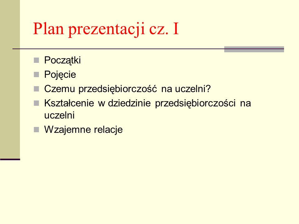 Plan prezentacji cz. I Początki Pojęcie Czemu przedsiębiorczość na uczelni? Kształcenie w dziedzinie przedsiębiorczości na uczelni Wzajemne relacje