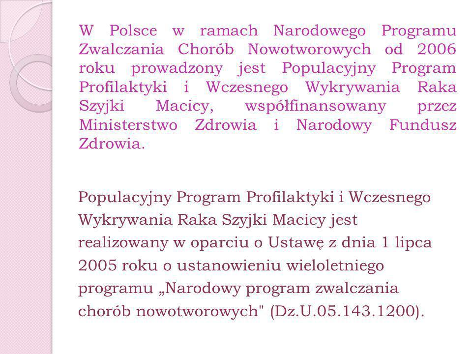 W Polsce w ramach Narodowego Programu Zwalczania Chorób Nowotworowych od 2006 roku prowadzony jest Populacyjny Program Profilaktyki i Wczesnego Wykryw