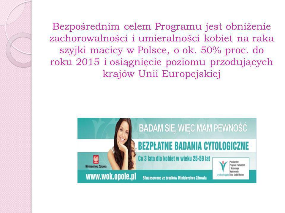 Bezpośrednim celem Programu jest obniżenie zachorowalności i umieralności kobiet na raka szyjki macicy w Polsce, o ok. 50% proc. do roku 2015 i osiągn