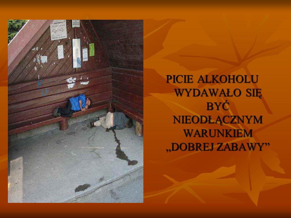PICIE ALKOHOLU WYDAWAŁO SIĘ BYĆ NIEODŁĄCZNYM WARUNKIEM DOBREJ ZABAWY