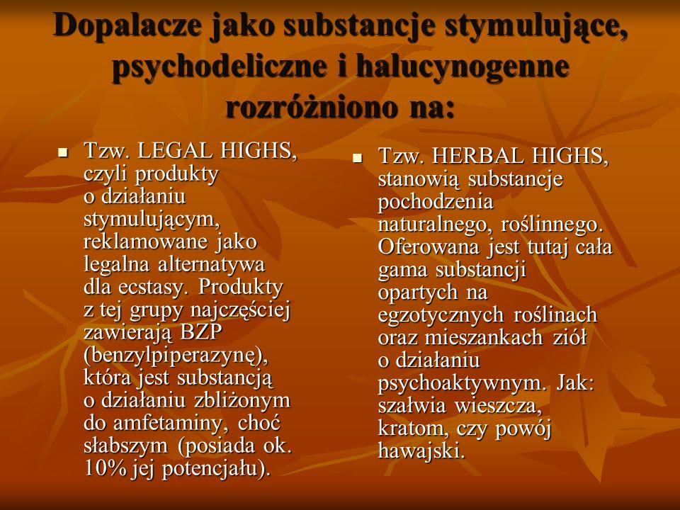 Dopalacze jako substancje stymulujące, psychodeliczne i halucynogenne rozróżniono na: Tzw. LEGAL HIGHS, czyli produkty o działaniu stymulującym, rekla
