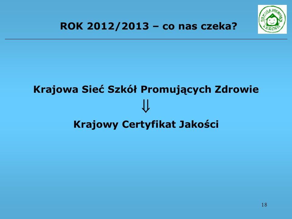 18 ROK 2012/2013 – co nas czeka? Krajowa Sieć Szkół Promujących Zdrowie Krajowy Certyfikat Jakości