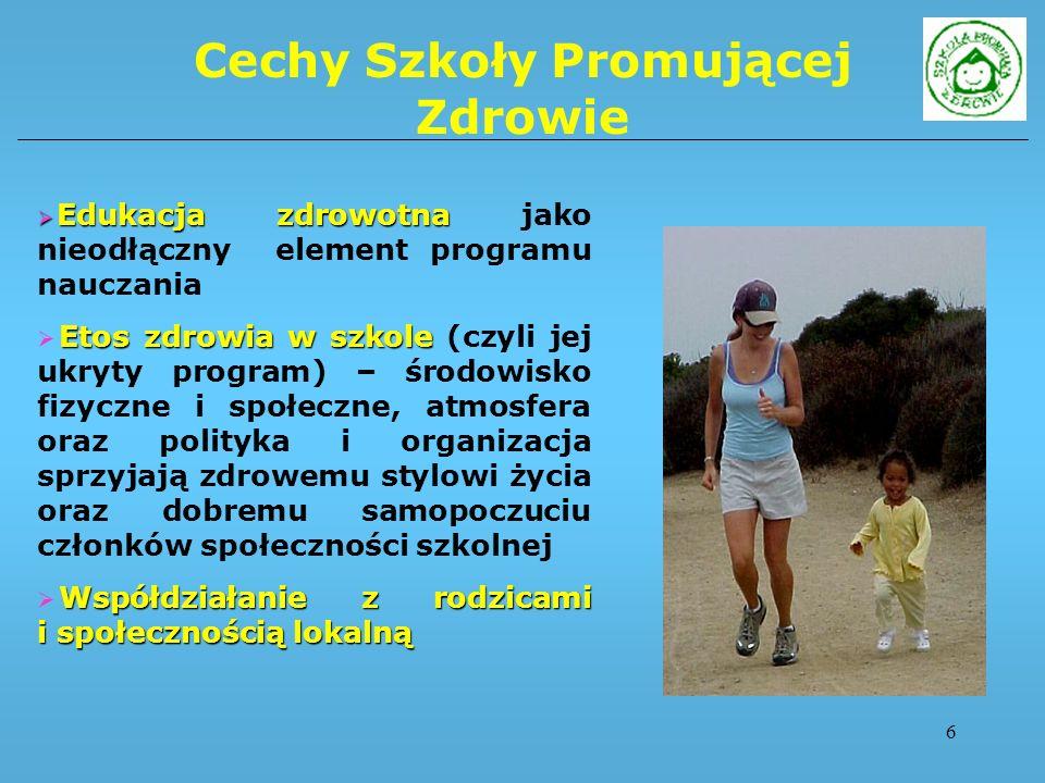 7 Cele Szkoły Promującej Zdrowie zdrowy styl życia Nadrzędnym celem SZPZ jest zdrowy styl życia społeczności lokalnej, tzn.