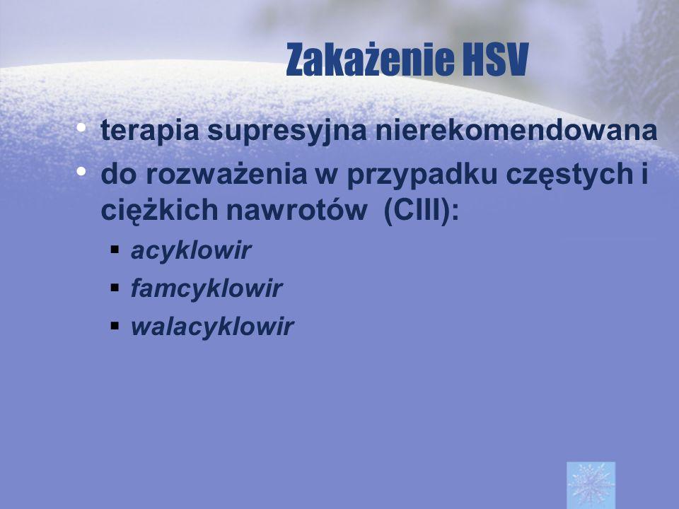 Zakażenie HSV terapia supresyjna nierekomendowana do rozważenia w przypadku częstych i ciężkich nawrotów (CIII): acyklowir famcyklowir walacyklowir