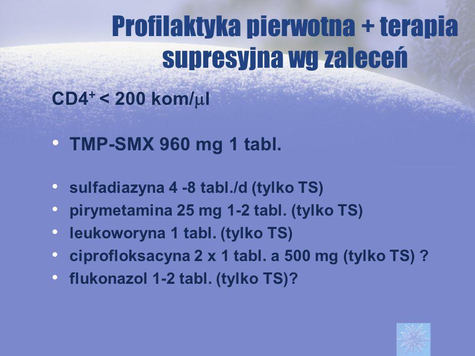 Profilaktyka pierwotna + terapia supresyjna wg zaleceń CD4 + < 200 kom/ l TMP-SMX 960 mg 1 tabl. sulfadiazyna 4 -8 tabl./d (tylko TS) pirymetamina 25