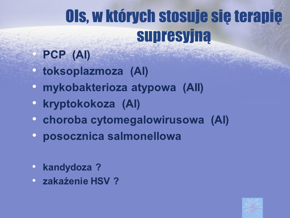 OIs, w których stosuje się terapię supresyjną PCP (AI) toksoplazmoza (AI) mykobakterioza atypowa (AII) kryptokokoza (AI) choroba cytomegalowirusowa (A