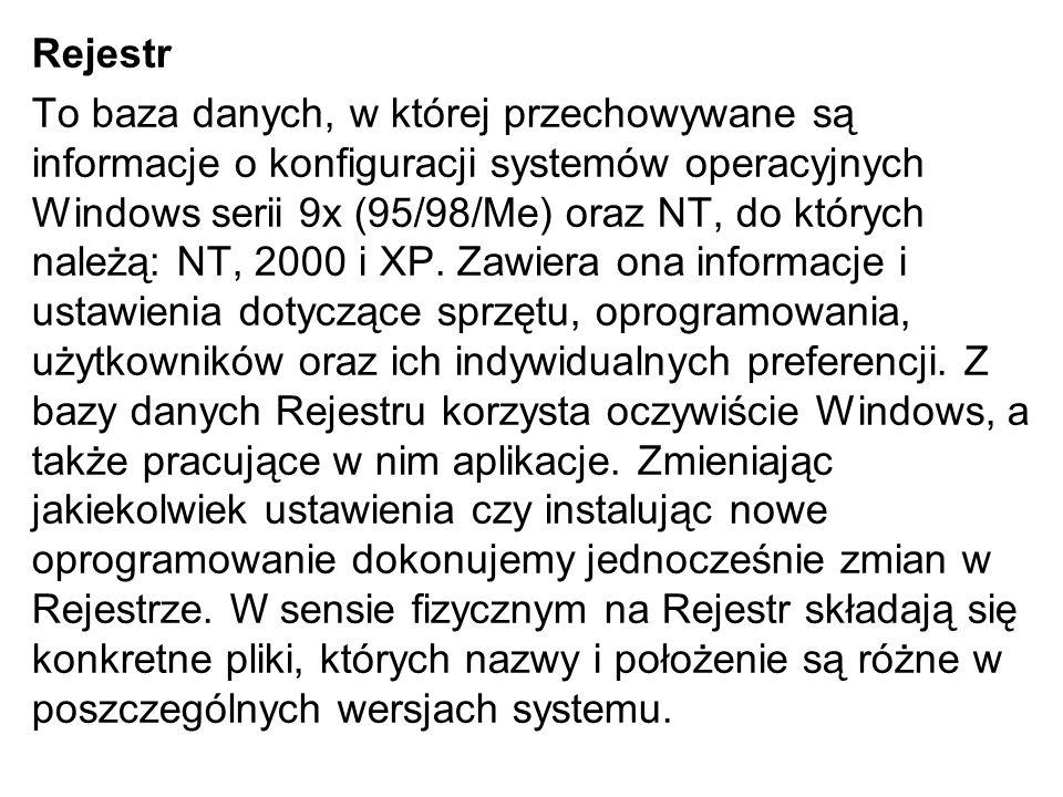 Rejestr To baza danych, w której przechowywane są informacje o konfiguracji systemów operacyjnych Windows serii 9x (95/98/Me) oraz NT, do których nale