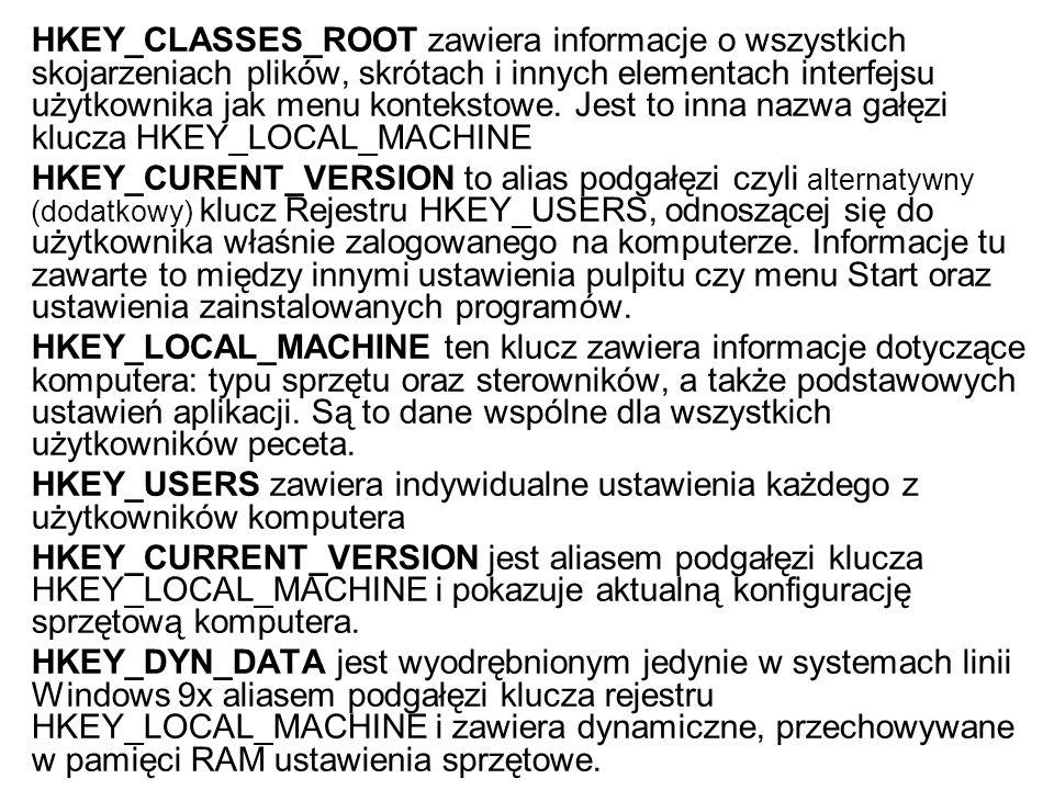 HKEY_CLASSES_ROOT zawiera informacje o wszystkich skojarzeniach plików, skrótach i innych elementach interfejsu użytkownika jak menu kontekstowe. Jest