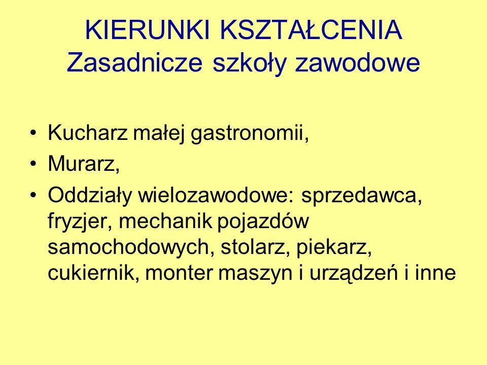 KIERUNKI KSZTAŁCENIA Zasadnicze szkoły zawodowe Kucharz małej gastronomii, Murarz, Oddziały wielozawodowe: sprzedawca, fryzjer, mechanik pojazdów samo
