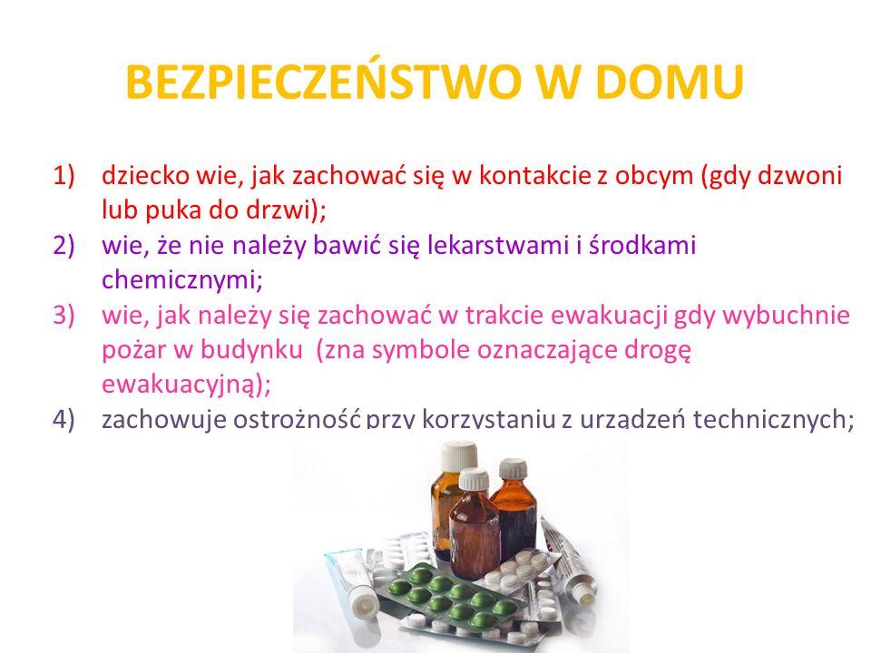 BEZPIECZEŃSTWO W DOMU 1)dziecko wie, jak zachować się w kontakcie z obcym (gdy dzwoni lub puka do drzwi); 2)wie, że nie należy bawić się lekarstwami i