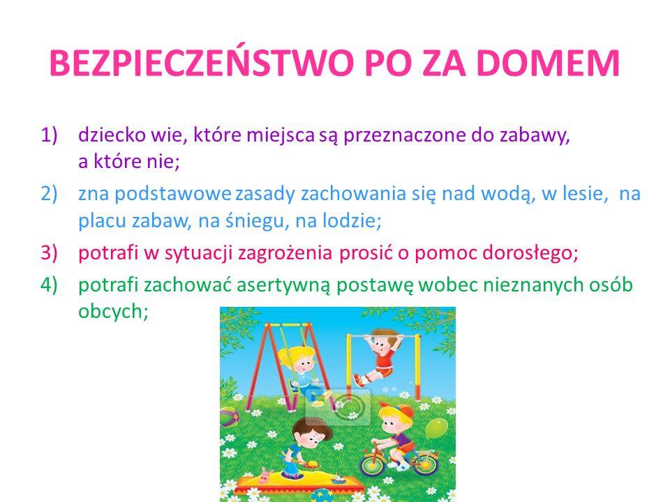 BEZPIECZEŃSTWO PO ZA DOMEM 1)dziecko wie, które miejsca są przeznaczone do zabawy, a które nie; 2)zna podstawowe zasady zachowania się nad wodą, w les