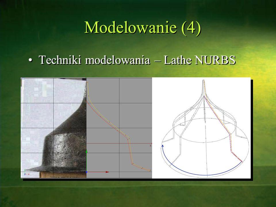Modelowanie (4) Techniki modelowania – Lathe NURBS