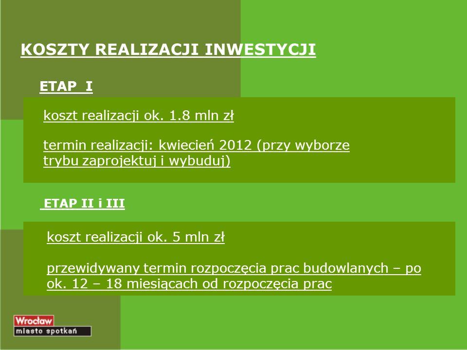 KOSZTY REALIZACJI INWESTYCJI ETAP I ETAP II i III koszt realizacji ok. 1.8 mln zł termin realizacji: kwiecień 2012 (przy wyborze trybu zaprojektuj i w