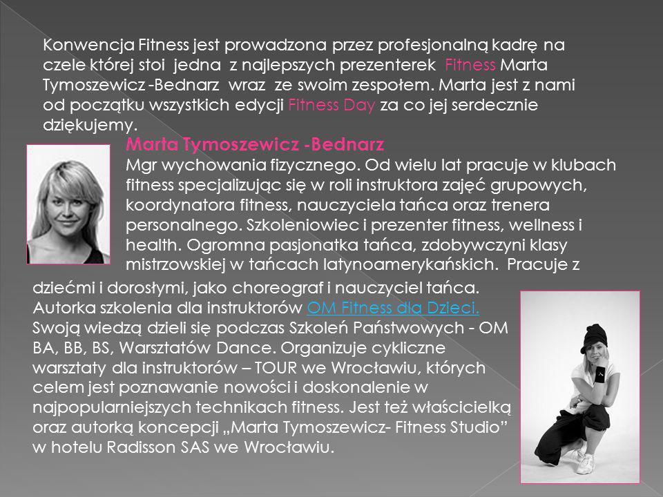 Konwencja Fitness jest prowadzona przez profesjonalną kadrę na czele której stoi jedna z najlepszych prezenterek Fitness Marta Tymoszewicz -Bednarz wraz ze swoim zespołem.