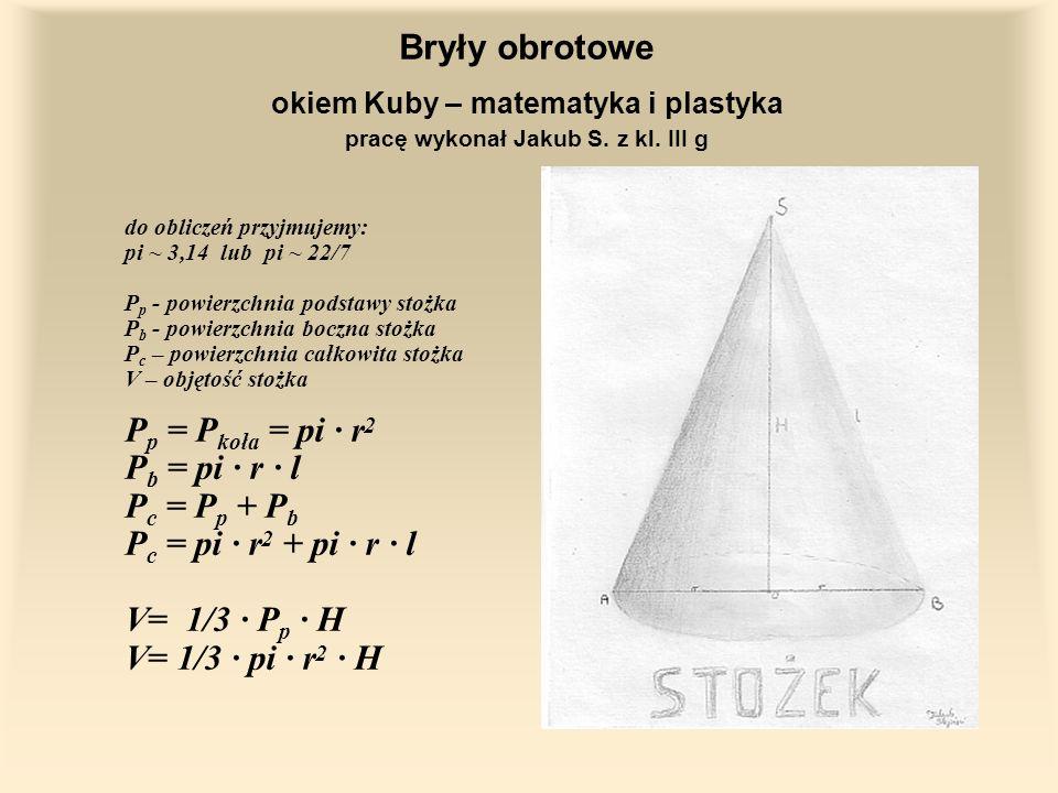 Bryły obrotowe okiem Kuby – matematyka i plastyka pracę wykonał Jakub S.
