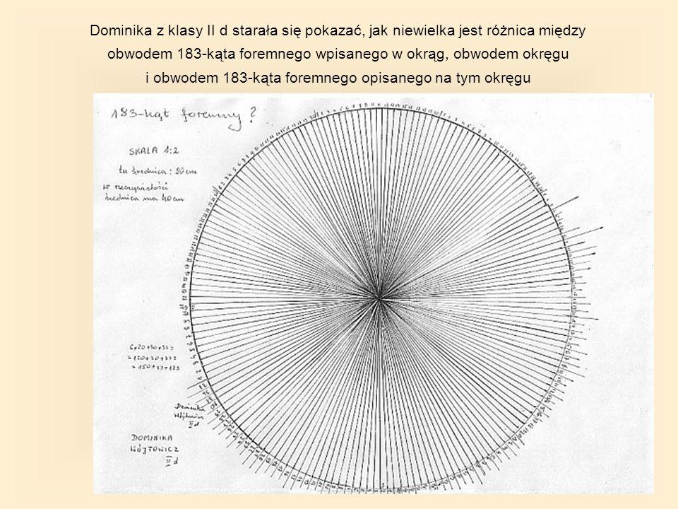 Dominika z klasy II d starała się pokazać, jak niewielka jest różnica między obwodem 183-kąta foremnego wpisanego w okrąg, obwodem okręgu i obwodem 183-kąta foremnego opisanego na tym okręgu