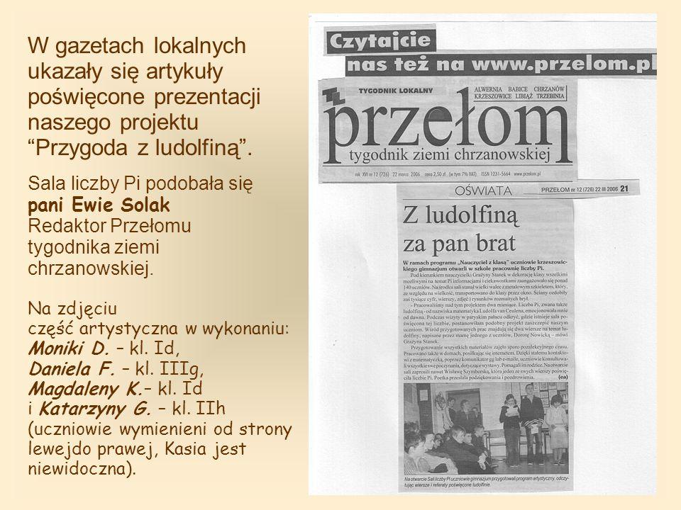 W gazetach lokalnych ukazały się artykuły poświęcone prezentacji naszego projektu Przygoda z ludolfiną.