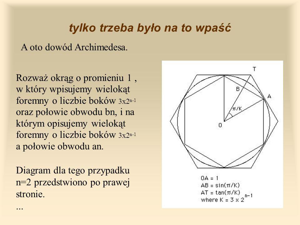 tylko trzeba było na to wpaść A oto dowód Archimedesa.