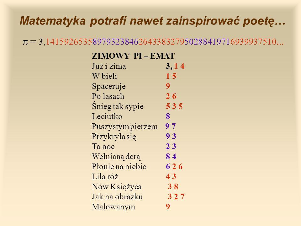 Matematyka potrafi nawet zainspirować poetę… = 3,14159265358979323846264338327950288419716939937510...