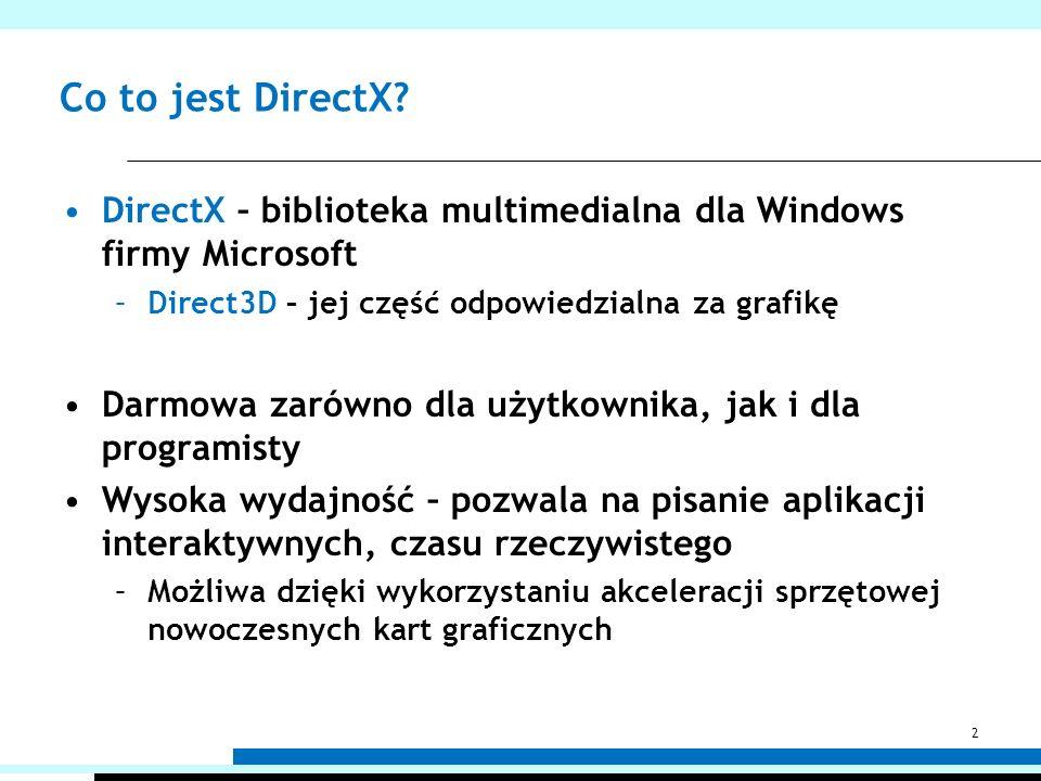 Co to jest DirectX? DirectX – biblioteka multimedialna dla Windows firmy Microsoft –Direct3D – jej część odpowiedzialna za grafikę Darmowa zarówno dla