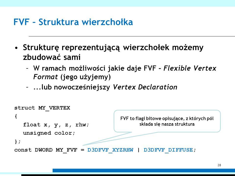 FVF – Struktura wierzchołka Strukturę reprezentującą wierzchołek możemy zbudować sami –W ramach możliwości jakie daje FVF – Flexible Vertex Format (je