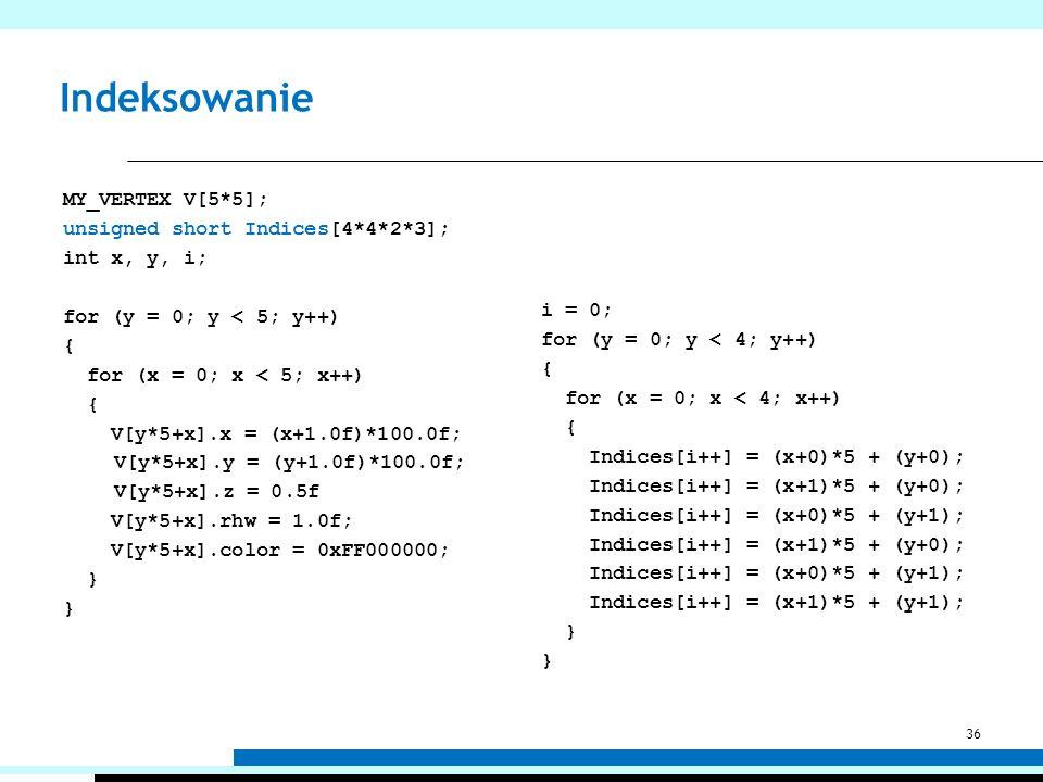 Indeksowanie MY_VERTEX V[5*5]; unsigned short Indices[4*4*2*3]; int x, y, i; for (y = 0; y < 5; y++) { for (x = 0; x < 5; x++) { V[y*5+x].x = (x+1.0f)