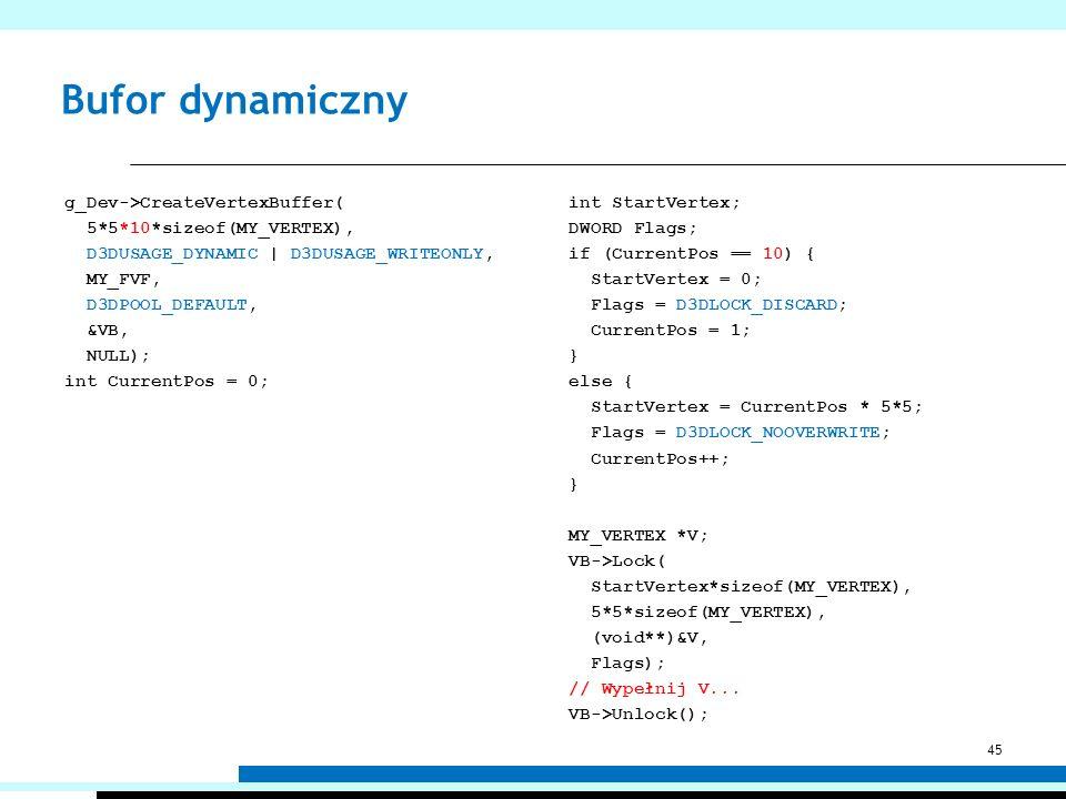 Bufor dynamiczny g_Dev->CreateVertexBuffer( 5*5*10*sizeof(MY_VERTEX), D3DUSAGE_DYNAMIC | D3DUSAGE_WRITEONLY, MY_FVF, D3DPOOL_DEFAULT, &VB, NULL); int