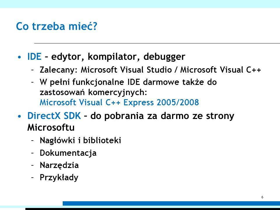 Co trzeba mieć? IDE – edytor, kompilator, debugger –Zalecany: Microsoft Visual Studio / Microsoft Visual C++ –W pełni funkcjonalne IDE darmowe także d