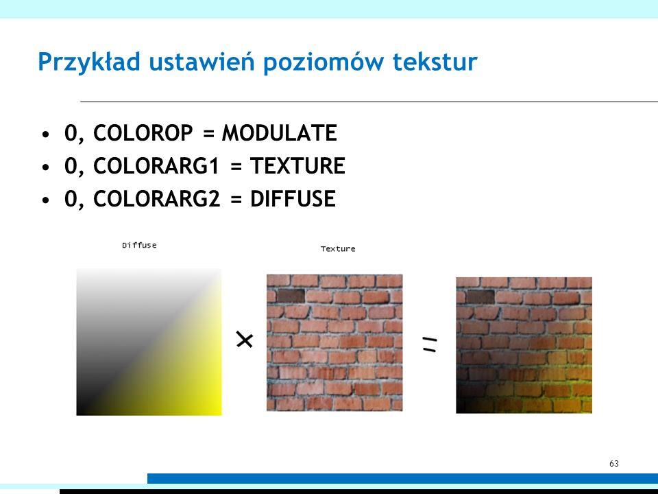 Przykład ustawień poziomów tekstur 0, COLOROP = MODULATE 0, COLORARG1 = TEXTURE 0, COLORARG2 = DIFFUSE 63