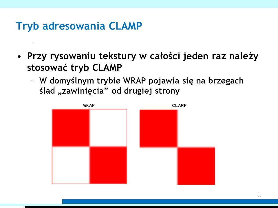Tryb adresowania CLAMP Przy rysowaniu tekstury w całości jeden raz należy stosować tryb CLAMP –W domyślnym trybie WRAP pojawia się na brzegach ślad za