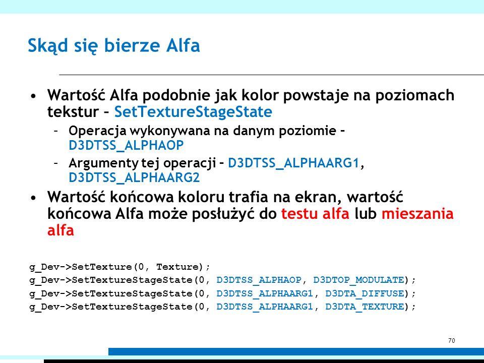 Skąd się bierze Alfa Wartość Alfa podobnie jak kolor powstaje na poziomach tekstur – SetTextureStageState –Operacja wykonywana na danym poziomie – D3D