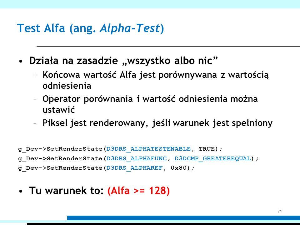 Test Alfa (ang. Alpha-Test) Działa na zasadzie wszystko albo nic –Końcowa wartość Alfa jest porównywana z wartością odniesienia –Operator porównania i