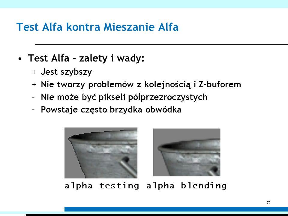 Test Alfa kontra Mieszanie Alfa Test Alfa - zalety i wady: +Jest szybszy +Nie tworzy problemów z kolejnością i Z-buforem –Nie może być pikseli półprze