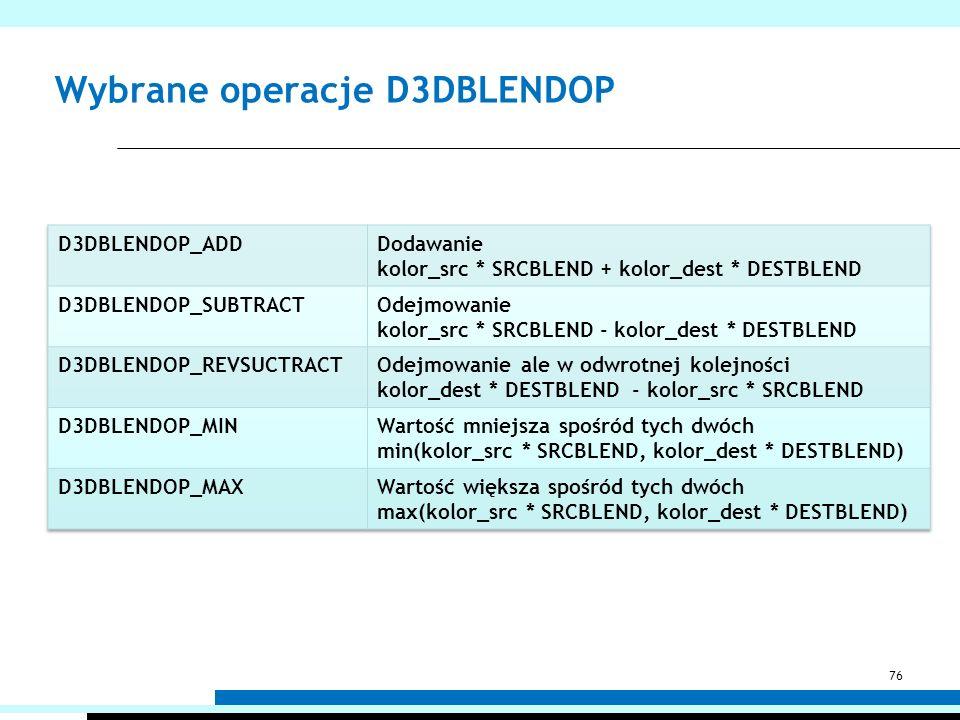 Wybrane operacje D3DBLENDOP 76