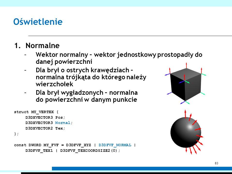 Oświetlenie 1.Normalne –Wektor normalny – wektor jednostkowy prostopadły do danej powierzchni –Dla brył o ostrych krawędziach – normalna trójkąta do k