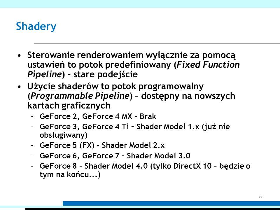 Shadery Sterowanie renderowaniem wyłącznie za pomocą ustawień to potok predefiniowany (Fixed Function Pipeline) – stare podejście Użycie shaderów to p