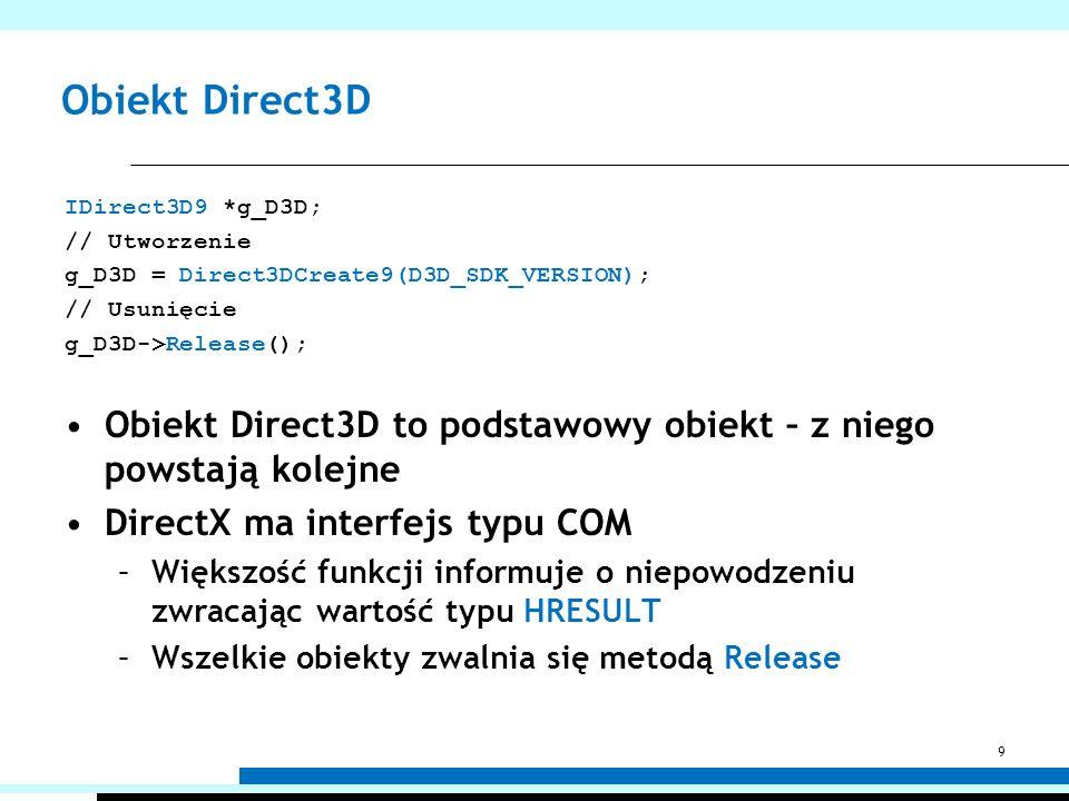 Obiekt Direct3D IDirect3D9 *g_D3D; // Utworzenie g_D3D = Direct3DCreate9(D3D_SDK_VERSION); // Usunięcie g_D3D->Release(); Obiekt Direct3D to podstawow
