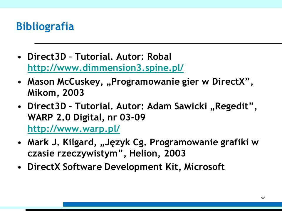 Bibliografia Direct3D – Tutorial. Autor: Robal http://www.dimmension3.spine.pl/ http://www.dimmension3.spine.pl/ Mason McCuskey, Programowanie gier w