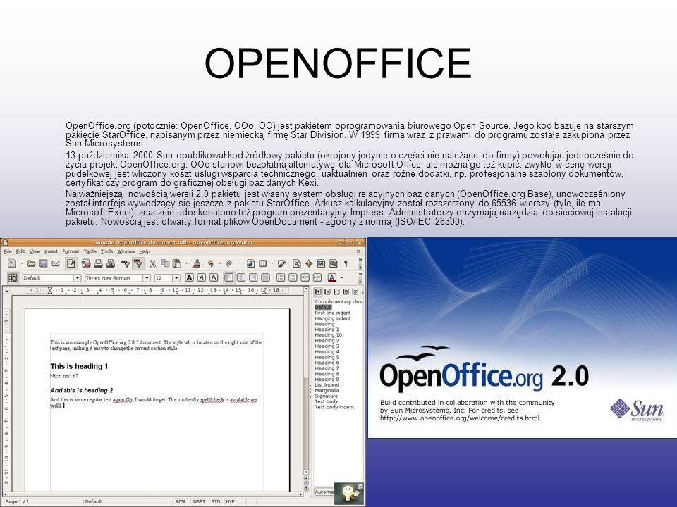 OPENOFFICE OpenOffice.org (potocznie: OpenOffice, OOo, OO) jest pakietem oprogramowania biurowego Open Source. Jego kod bazuje na starszym pakiecie St