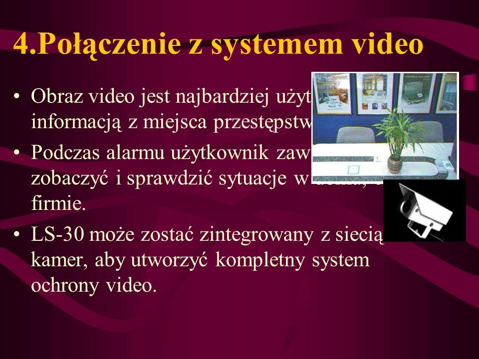 4.Połączenie z systemem video Obraz video jest najbardziej użyteczną informacją z miejsca przestępstwa. Podczas alarmu użytkownik zawsze chce zobaczyć