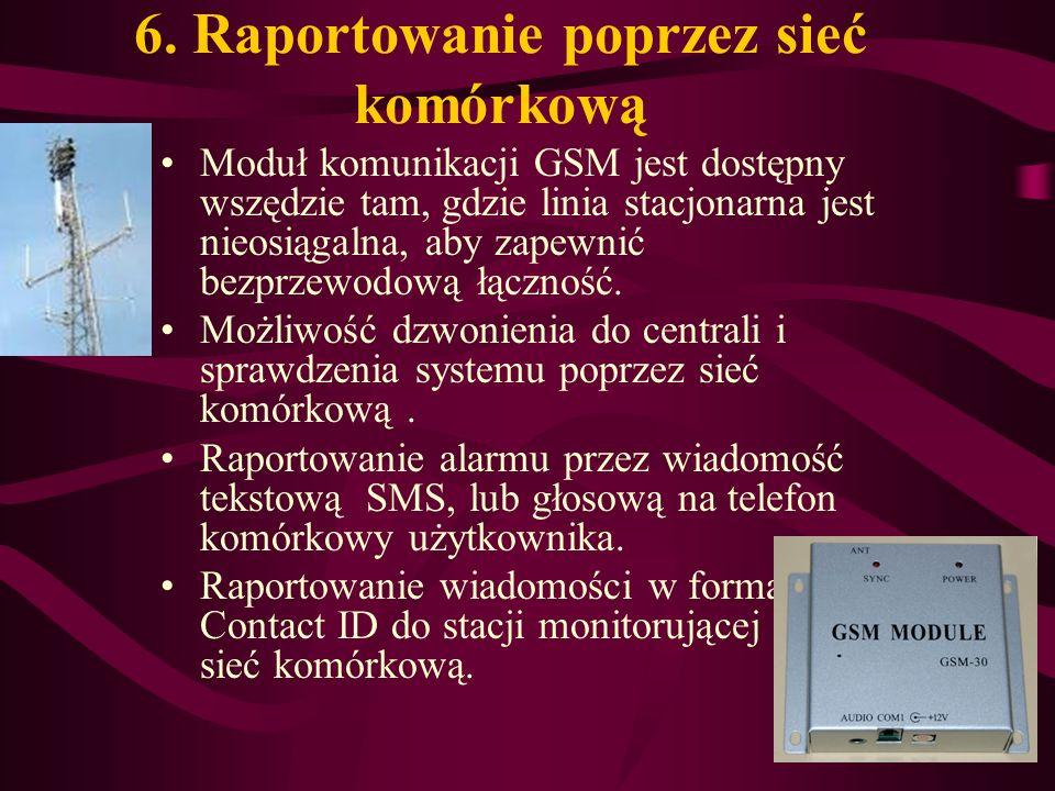 6. Raportowanie poprzez sieć komórkową Moduł komunikacji GSM jest dostępny wszędzie tam, gdzie linia stacjonarna jest nieosiągalna, aby zapewnić bezpr