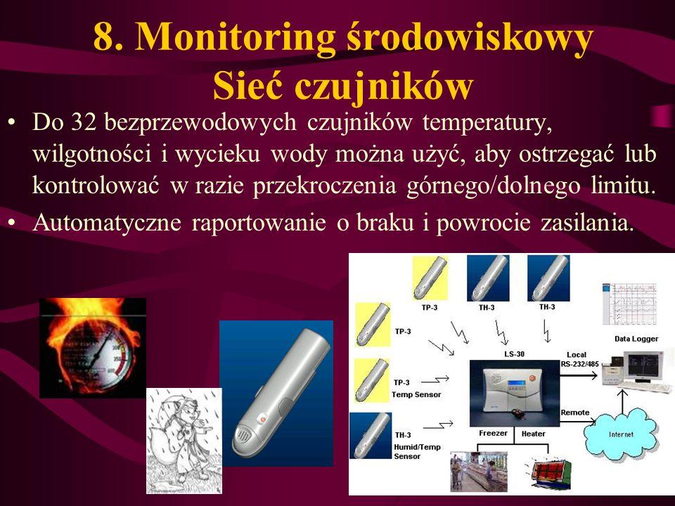 8. Monitoring środowiskowy Sieć czujników Do 32 bezprzewodowych czujników temperatury, wilgotności i wycieku wody można użyć, aby ostrzegać lub kontro