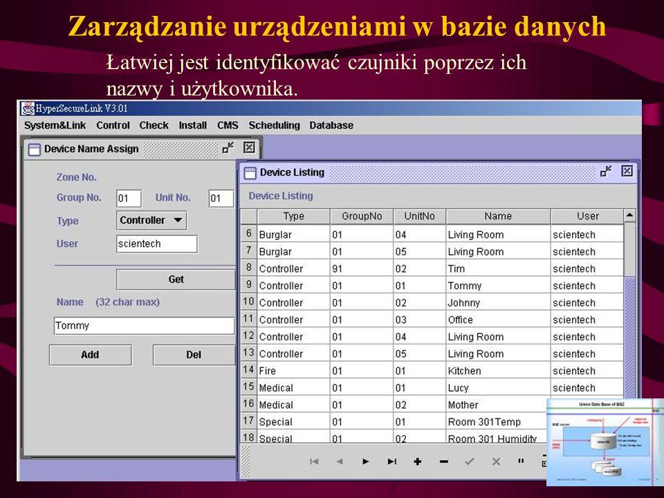 Zarządzanie urządzeniami w bazie danych Łatwiej jest identyfikować czujniki poprzez ich nazwy i użytkownika.