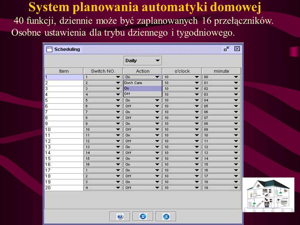 System planowania automatyki domowej 40 funkcji, dziennie może być zaplanowanych 16 przełączników. Osobne ustawienia dla trybu dziennego i tygodnioweg